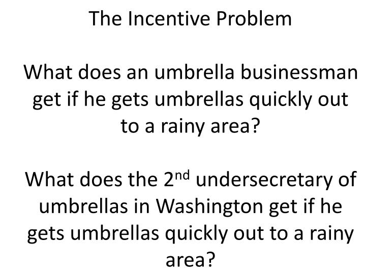 The Incentive Problem