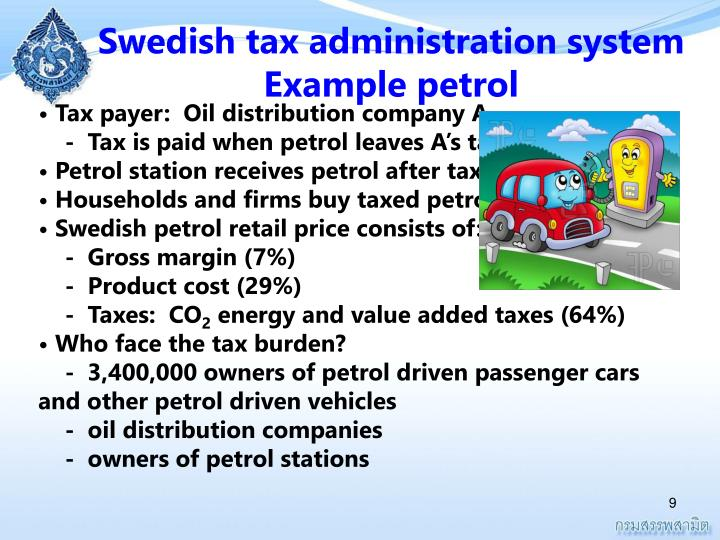 Swedish tax administration system Example petrol