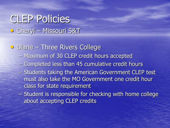 CLEP Policies