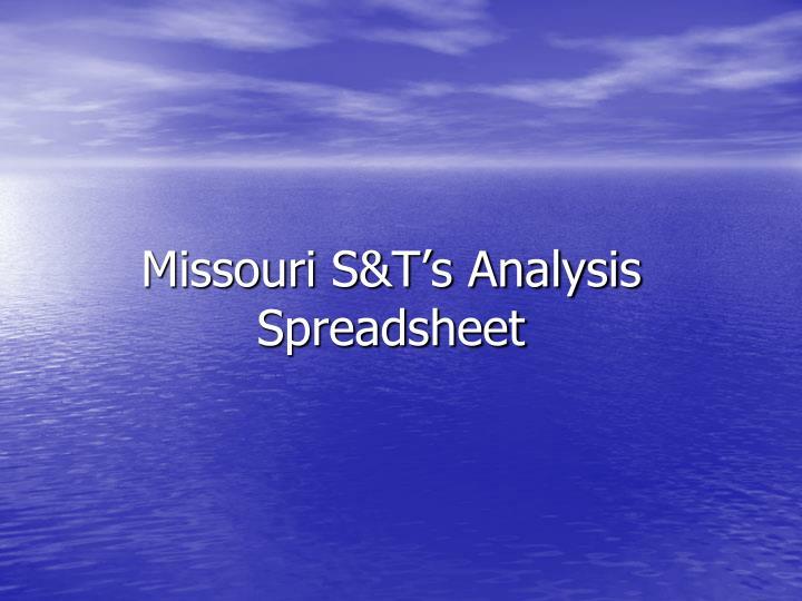 Missouri S&T's Analysis Spreadsheet