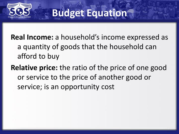 Budget Equation