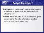 budget equation