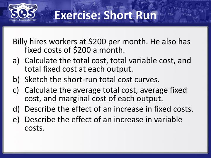 Exercise: Short Run