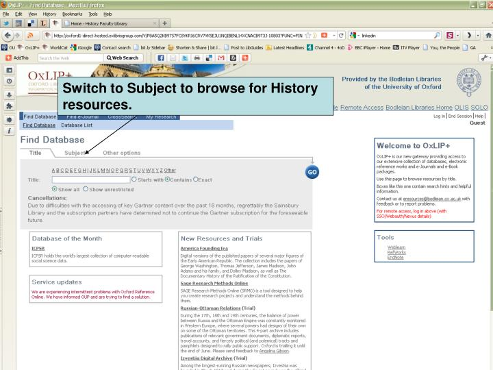 Switch to Subject to browse for History resources.