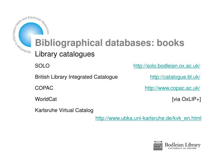 Bibliographical databases: books