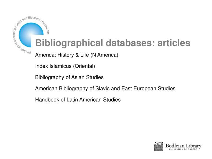 Bibliographical databases: articles