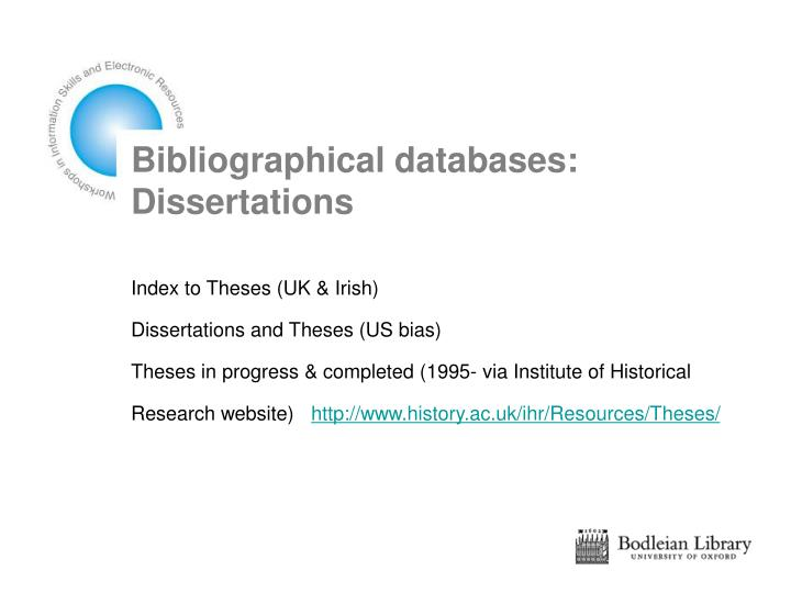 Bibliographical databases: Dissertations
