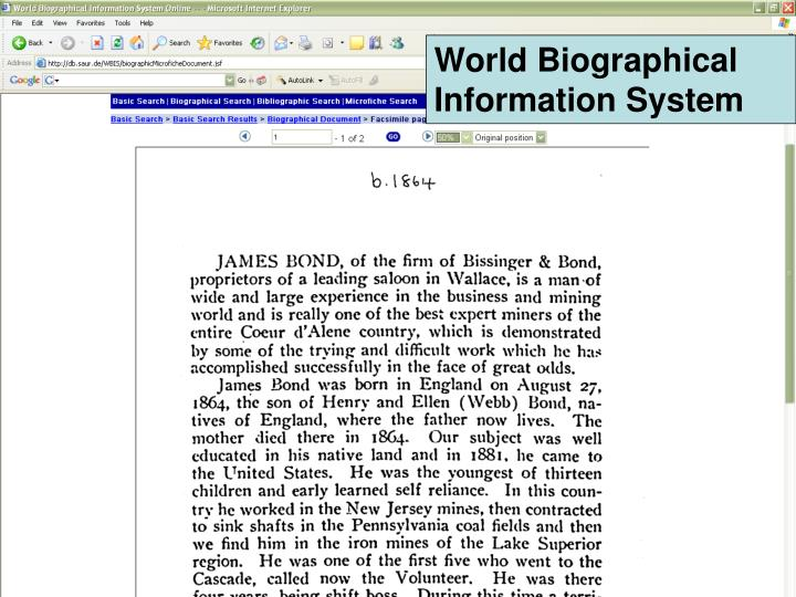 World Biographical Information System