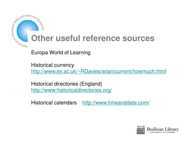 Other useful reference sources