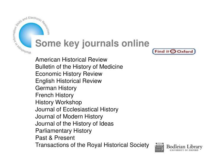 Some key journals online