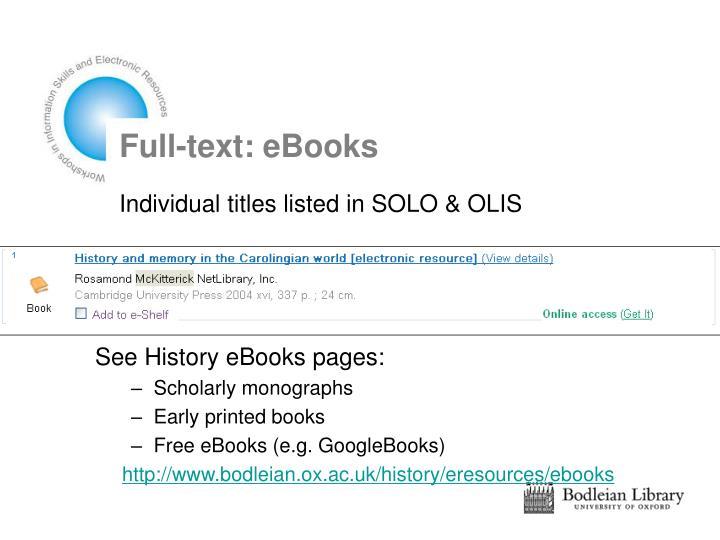 Full-text: eBooks