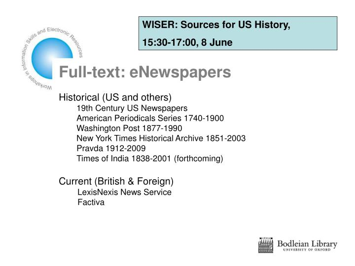 WISER: Sources for US History,