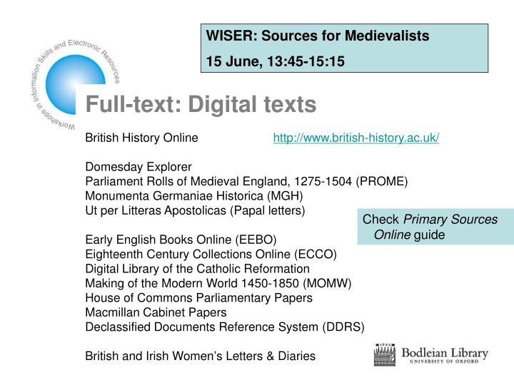 WISER: Sources for Medievalists