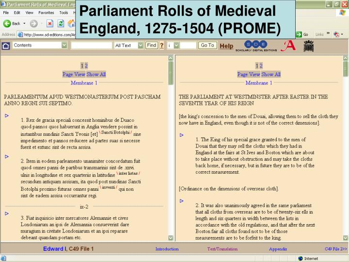 Parliament Rolls of Medieval England, 1275-1504 (PROME)