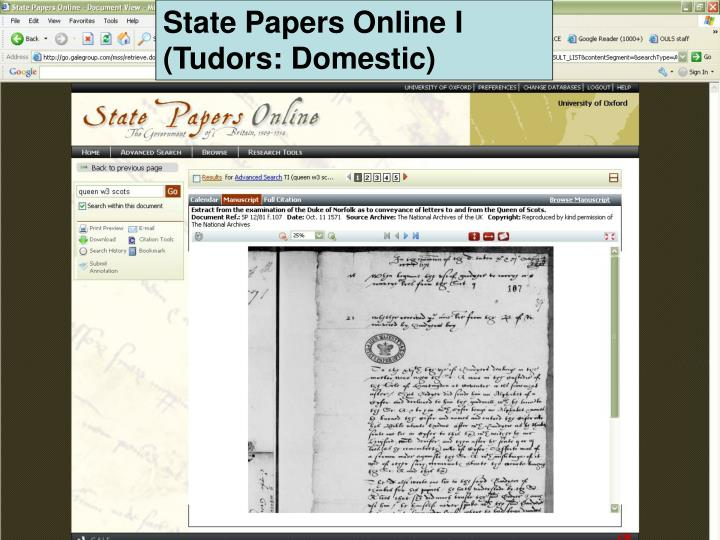 State Papers Online I (Tudors: Domestic)