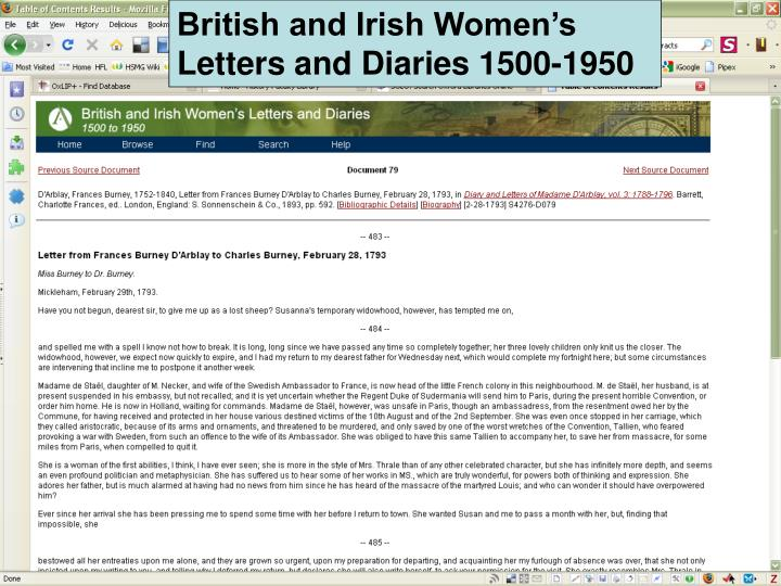 British and Irish Women's Letters and Diaries 1500-1950