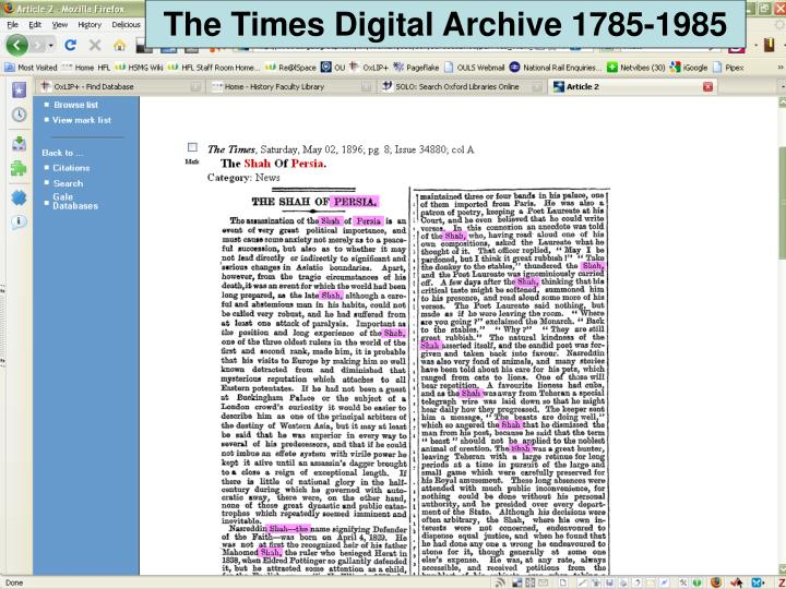 The Times Digital Archive 1785-1985
