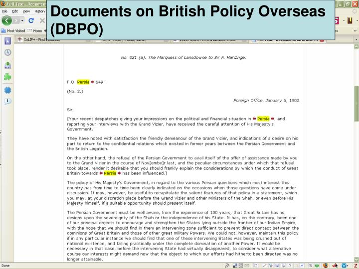 Documents on British Policy Overseas (DBPO)