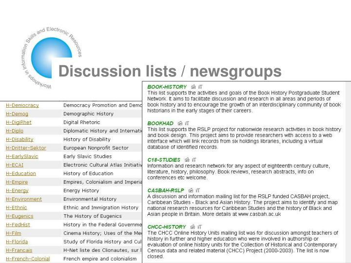 Discussion lists / newsgroups