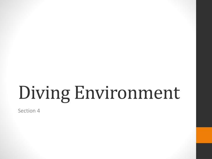 Diving Environment