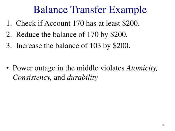 Balance Transfer Example