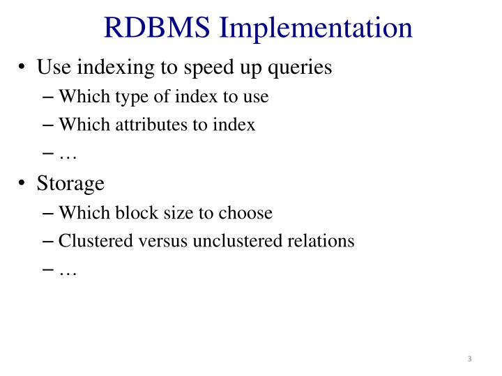 Rdbms implementation
