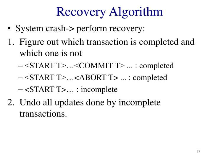 Recovery Algorithm