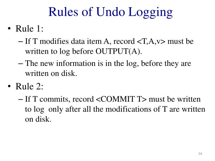 Rules of Undo Logging