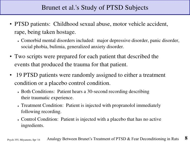 Brunet et al.'s Study of PTSD Subjects