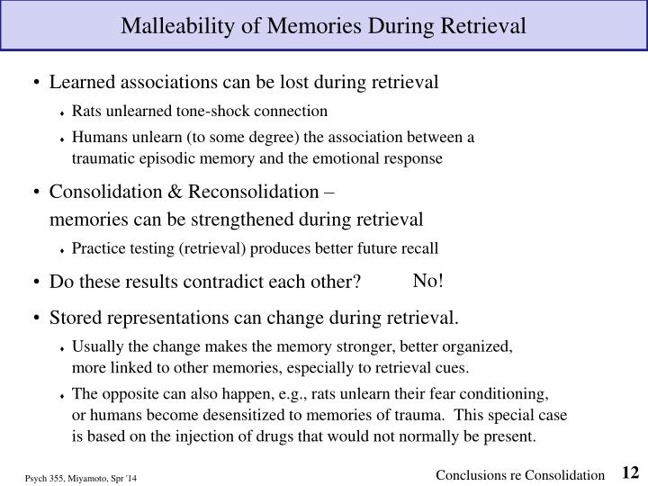 Malleability of Memories During Retrieval
