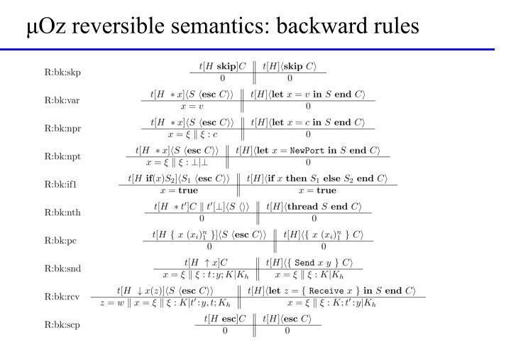 μOz reversible semantics: backward rules