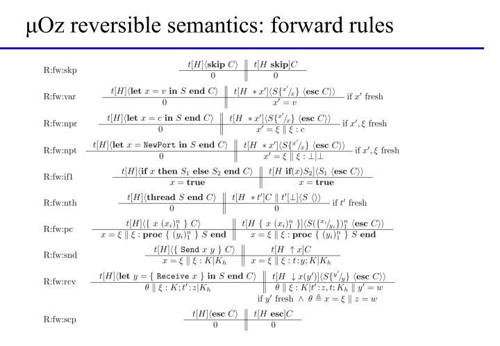 μOz reversible semantics: forward rules