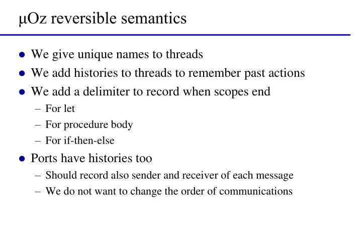 μOz reversible semantics