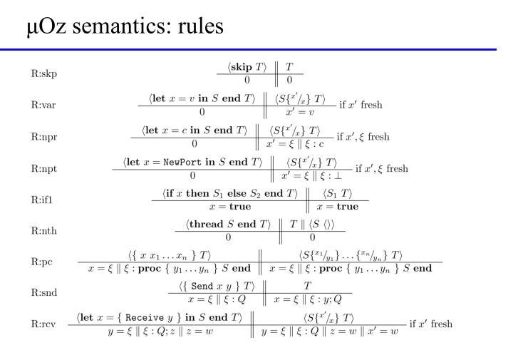 μOz semantics: rules