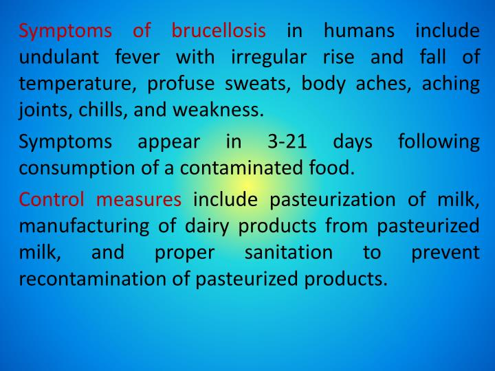 Symptoms of brucellosis