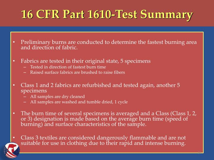 16 CFR Part 1610-Test Summary