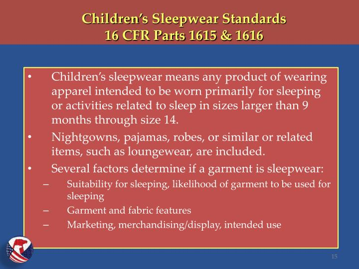 Children's Sleepwear Standards