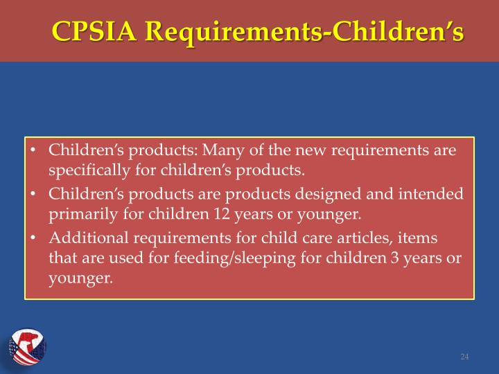 CPSIA Requirements-Children's