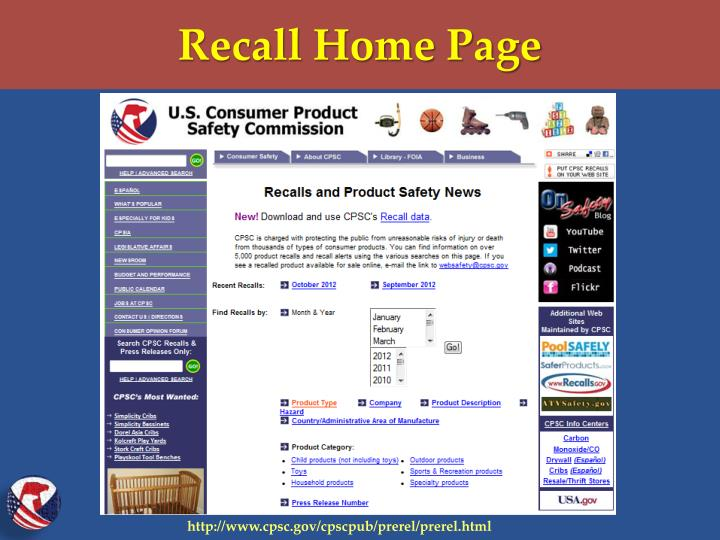 Recall Home Page