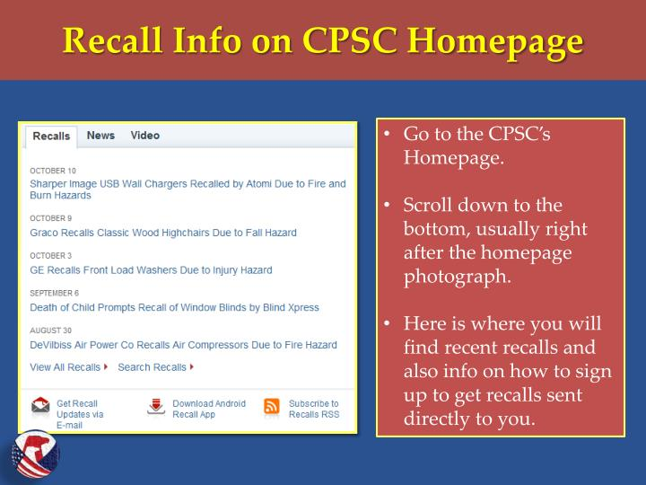 Recall Info on CPSC Homepage