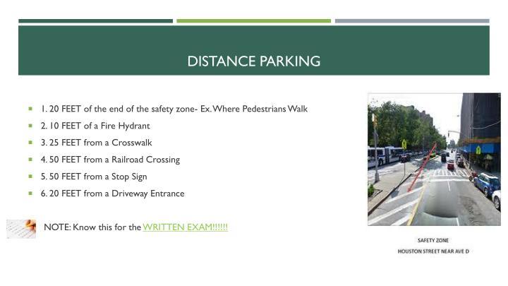 Distance parking