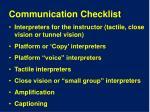 communication checklist