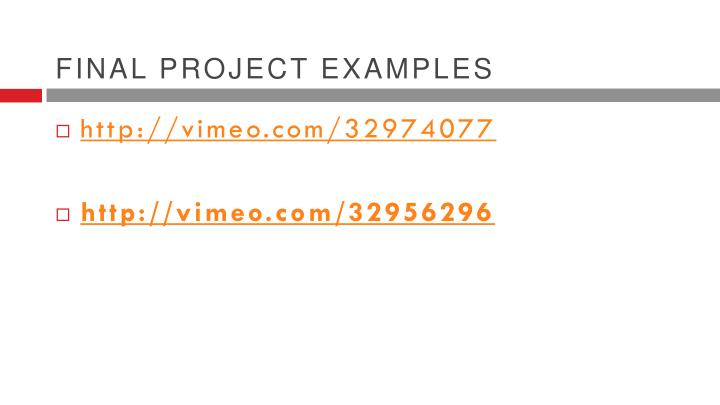 Final project examples