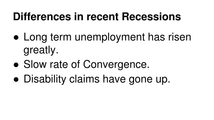 Differences in recent Recessions