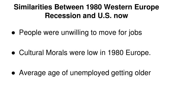 Similarities Between 1980 Western Europe Recession and U.S. now