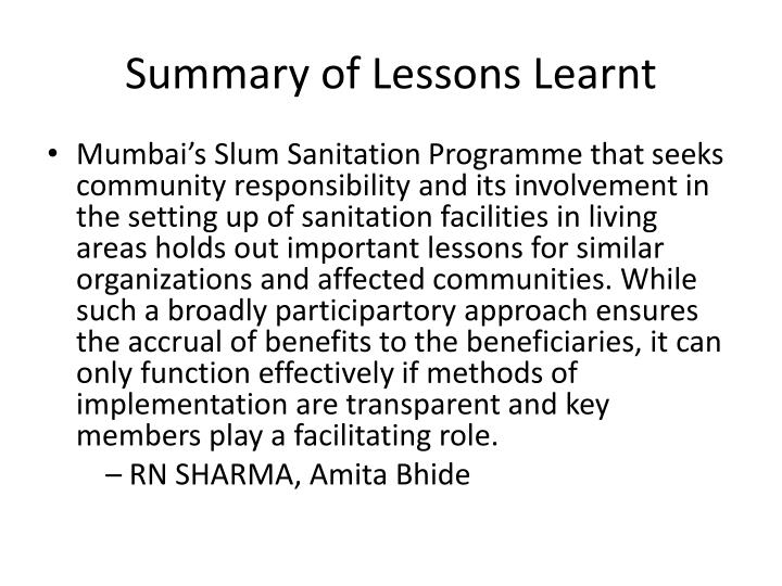 Summary of Lessons Learnt
