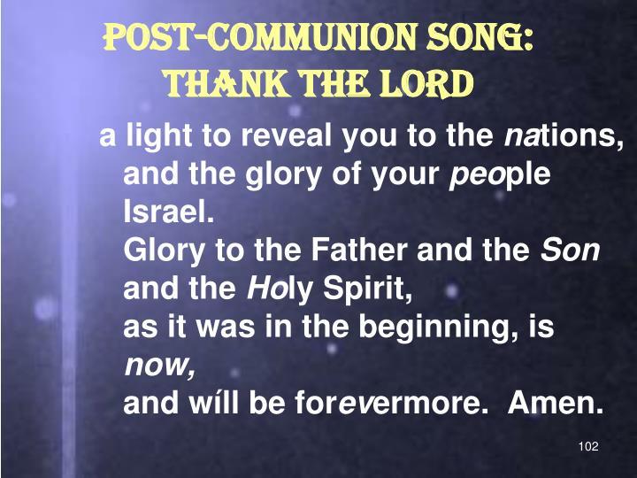 POST-COMMUNION SONG:
