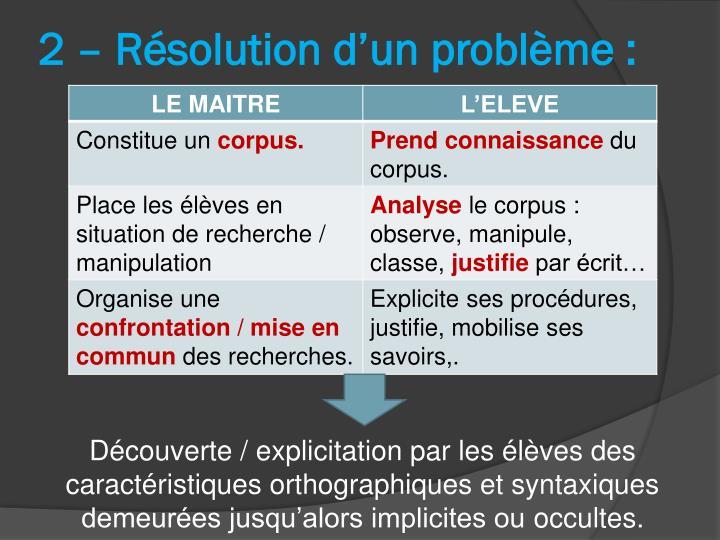 2 – Résolution d'un problème :