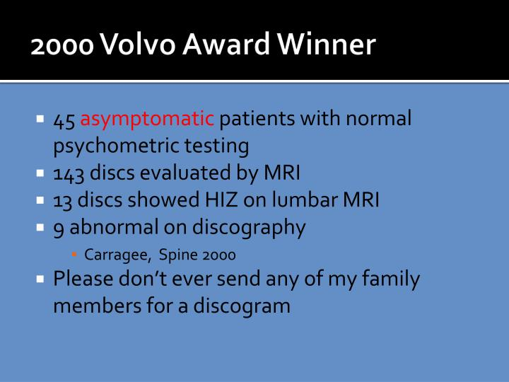 2000 Volvo Award Winner