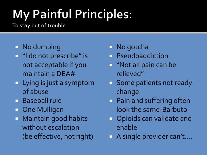 My Painful Principles: